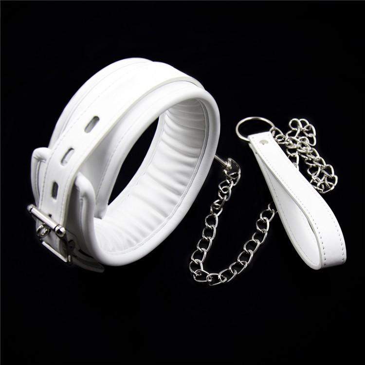 White leather bondage harness fetish slave collar chain chain leash neck corset sex adult collars restraints bdsm sexy toys