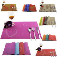 4Pcs/Lot Dining Table PVC Placemats Love Rose Cup Christmas Waterproof Pads For Home And Restaurant(China)
