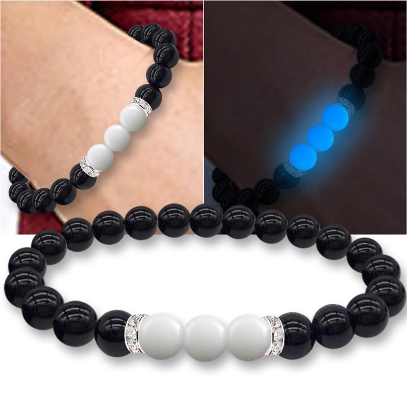 Luminous Bracelet Night Light Magic Novelty Lighting Beads Noctilucent Crystal Natural Stone For Girls Women Gift Wrist Band