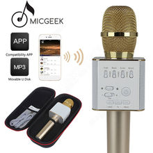 Free shipping!Original MicGeek Q9 Microphone Wireless Portable KTV USB Play For Xiao mi and  Hua wei