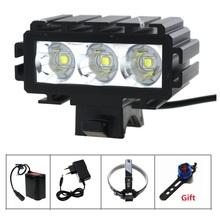 5000 Lumen mountain helmet bike light 3x Cree XM-L2 Bicycle Light With Power Indicator+ 18650 Battery Pack+Charger+Rear Light(China)