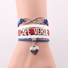 infinity love cape verde Bracelet heart charm leather rope wrap handmade bracelets & bangles for women men jewelry Drop Shipping(China)