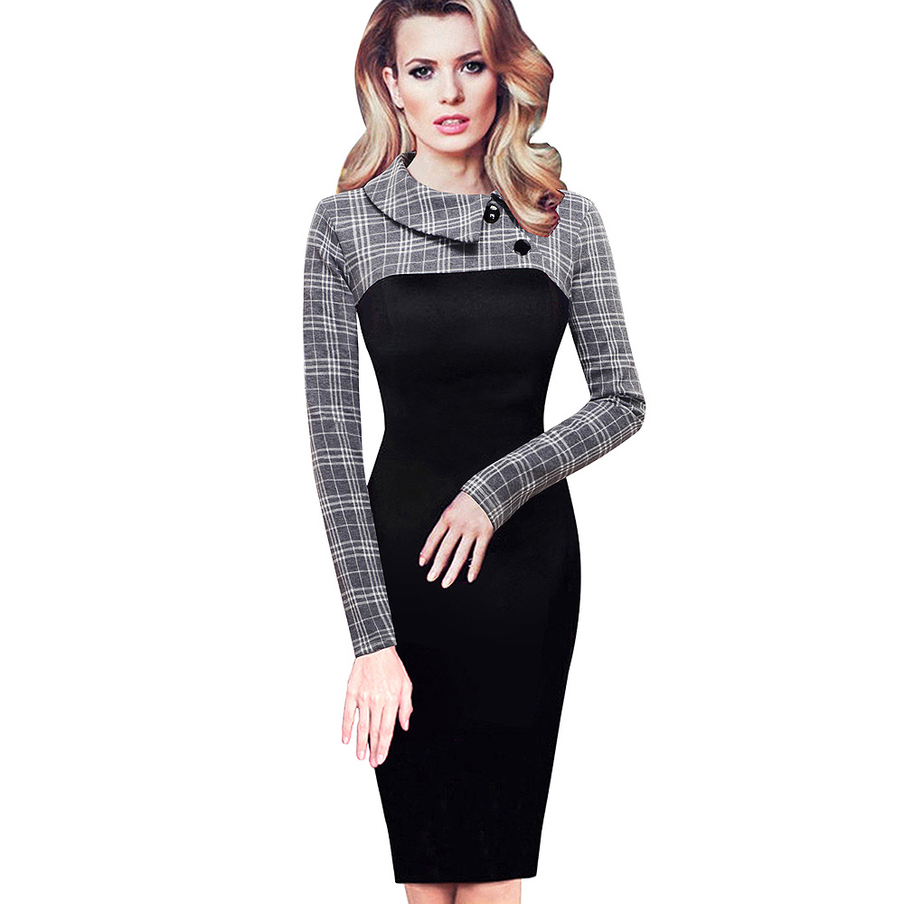 Nice-forever Elegant Vintage Fitted winter dress full Sleeve Patchwork Turn-down Collar Button Business Sheath Pencil Dress b238 8