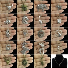 GLOWCAT Q4A83 Fashion Silver Alloy Cow Horse Head Bear Snake Cobra Deer Animal Pendant Charms Choker Necklace Chains(China)