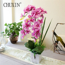 NEW 1 set butterfly orchid (flower+vase) artificial flower plant bedroom home decoration flower gifts flower