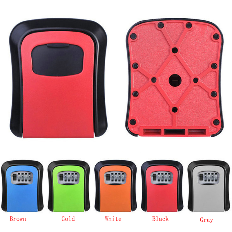Keys Safe Box Digit Wall Mount Combination Lock With Four Password Key Storage Box Zinc Alloy Material Security 5-Color Boxes<br>
