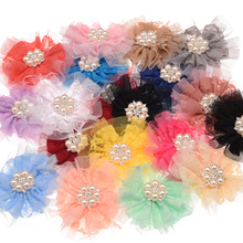 40PCS Lace Round foldover Flower With Pearl Rhinestone Center 9cm Boutique Flower Decoration Headwear No Hair Clip