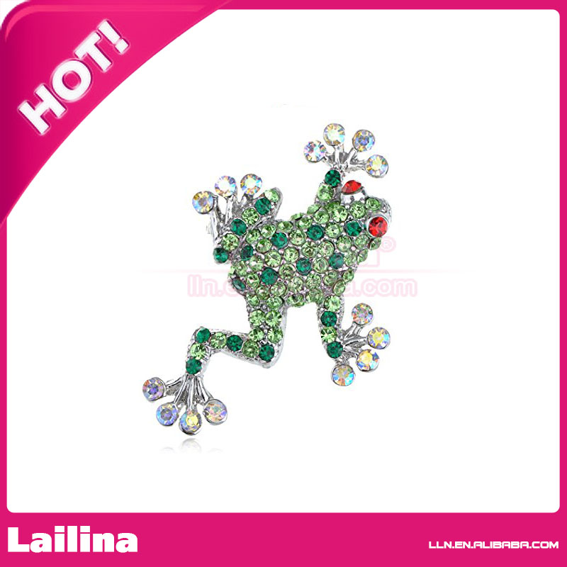 Fashion 100pcs/lot 45mm Silvery Tone Green Rhinestones Poison Water Frog Toad Brooch(China)