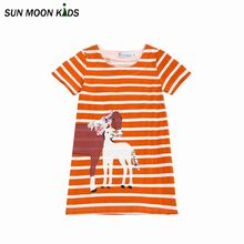 Sun Moon Kids Kids Dress Boutique Children Party Clothing Cute Horse Decals Costuming Girl Dresses 2017 Latest Arrival