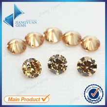 50pcs 5A 0.8-6.0mm Champagne Color Loose Cubic Zirconia CZ Stone Round Shape European Machine Cut Synthetic Gemstone