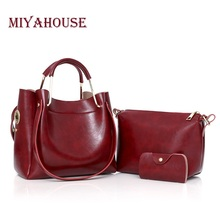 Miyahouse Luxury Vintage Oil Wax Leather Handbag Women 3 Pcs/Set Solid Color Shoulder Bag Female Tote Composite Bags(China)