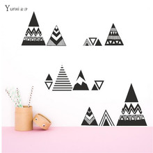 YunXi  New Ethnic Style Geometric Triangle Small Horn Stickers Kids Room Bedroom Background Decoration PVC Carved Wall Stickers