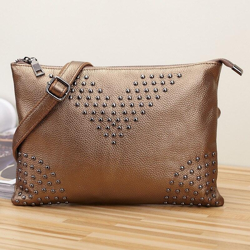 Luxurious Rose Gold 100% Genuine Leather Rivet Bag Letter V Handbag Cow Leather Bulk Clutch Women Shoulder Envelope Clutch Bag<br>