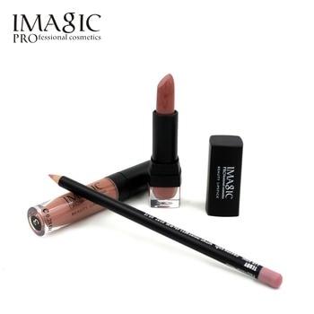 IMAGIC à lèvres Maquillage Waterproof Fraise Durable Lipgloss + Rouge À Lèvres + Crayon Contour des Lèvres Maquillage Ensemble