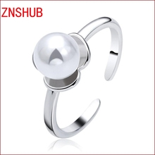 925 sterling silver rings new 2017 luxury high imitation pearl ring opening female fine jewelry manufacturers wholesale