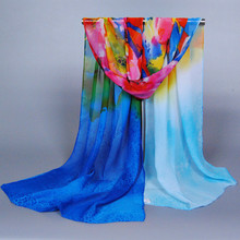 Peacesky Brand Cheap Promot Fashion Ladies Gradient Color Blue Chiffon Scarf for women ,Wholesale Scarves XQ144
