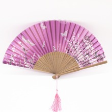 Beautiful hand crafted Chinese Japanese hand held folding fan high quality traditonal silk fabric folding fan party favor