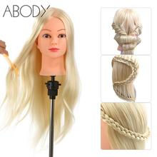 "26"" 30% Real Human Hair Hairdressing Training Head with Clamp Salon Hair Cutting Braiding Practice Model Head Hair Dummy Head"