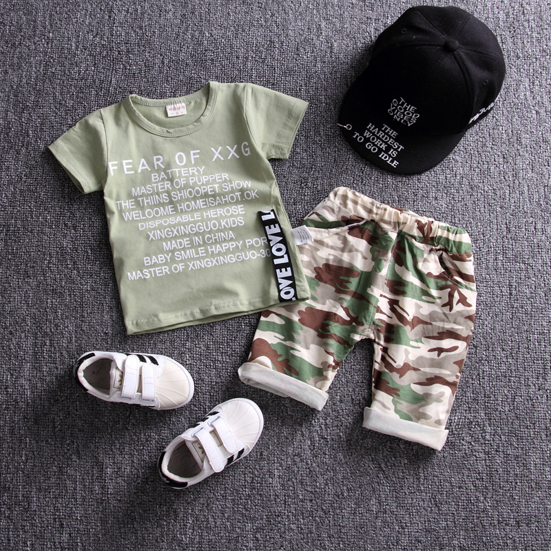 2PCS Camouflage Kid Baby Boy Short Sleeve T-shirt Top Short Pant Outfits Clothes