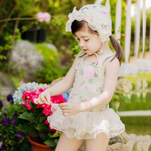 French romantic children's piece swimsuit lace princess skirt baby swimsuit girl swimsuit bikini