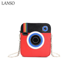 LANSO Foreign Fashion Creative Rainbow Camera Design Bags High Quality Leather Women Handbags Personality Funny Messenger Bag