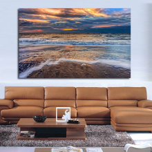 QCART Beach Sunset Sky Clouds Sand Nature Sea Ocean Waves Wall Paintings On Canvas Oil Painting Wall Painting No Frame