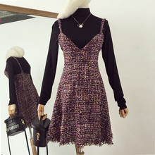 women's sleeveless silk woolen dress Top quality elegant tweed V-neck harness Sexy Gold thread elegant dress(China)