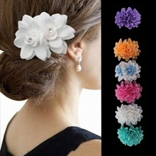 Bride Head Decorations White Flower Crystal Hairpin Women Summer Beach Hairgrips Jewelry Bohemian Wedding Accessories Hair Clips