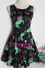 FREE SHIPPING 2015 Summer Style Harajuku Amo Zipper Unicorn Five-Pointed Neon Color Block Vintage High Waist Dress