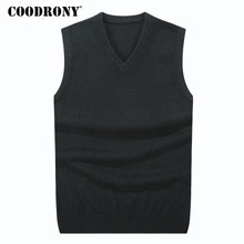 COODRONY Autumn Winter Cashmere Classic Vest Sweater Men Sleeveless Sweaters Solid Color V-Neck Wool Pullovers Men Jersey Hombre(China)