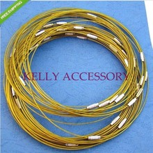 Free Shipping 50pcs Gold Stainless Steel Necklace Wire Cord For DIY Craft Jewelry 18inch(China)