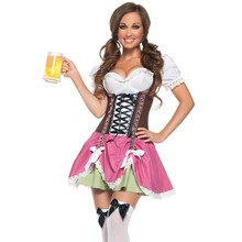 Newest Hot Sexy Halloween Costumes For Women Swiss Girl Patchwork Oktoberfest Costume LC8933 Deguisement Adultes Cosplay Femme