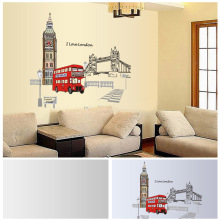 60X90CM Wall Stickers Red London Double-decker Bus Removable Art Decals Home Mural Sofa Bedroom Living Room Wall Stickers