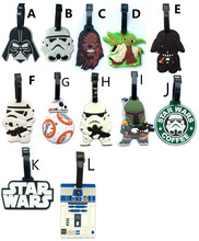 20pcs/lot New Travel Accessories Suitcase Luggage Tags Star Wars ID Address Holder Luggage Label Silicone Identifier Baggage Tag