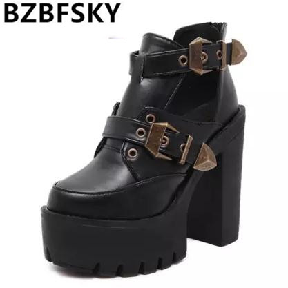 2016 Spring Autumn Female Pumps Round Toe Platform Thick High Heeled Women Single Shoes Casual Cut-outs Buckle Sexy Ankle Boots<br>