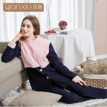 2017 Winter New Arrive Homewear Ladies Patchwork Warm Pajama sets Women Luxury Lamp Sleepwear Suit Female Cardigan Coat +Pants(China)