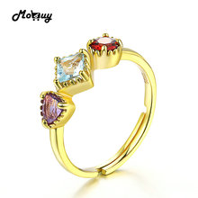 MoBuy MBRI011 3 Gemstone Topaz+Garnet+Amethyst Rings Sterling Silver 925 Jewelry 14K Yellow Gold Plated Fine Jewelry For Women
