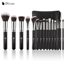DUcare New 15Pcs Professional Makeup Brushes Set Goat Hair Synthetic Hair Make Up Brush with Bag(China)