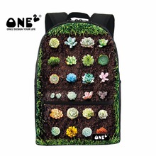 ONE2 2017 New Design colorful backpacks printing with all kinds of Succulent Potted Plants schoolbag for young teenager students