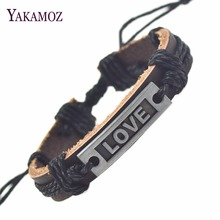 New Genuine Leather Bracelets For Women Men Romantic Love Bracelets 2017 Fine Jewelry Christmas Gift Wholesale