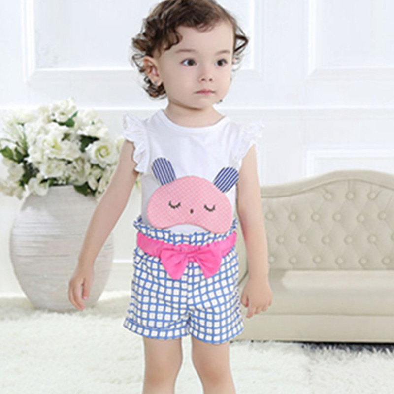 1-2-3 Yrs casual baby girls clothing sets,cartoon sleeveless T-shirt + plaid pants childrens clothing,summer kids clothes<br><br>Aliexpress