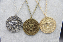 Fashion Jewelry Vintage Charm Alloy Aztec Coin Pendant Necklace Pirates of the Caribbean(China)
