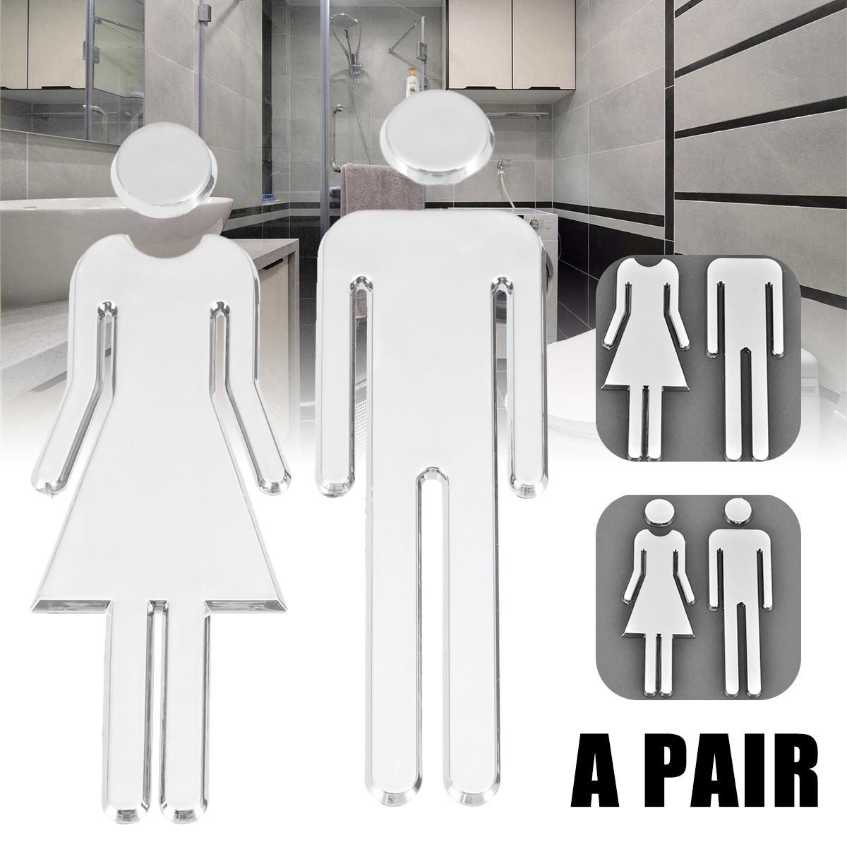 12cm Adhesive Women Mens Toilet Sign DIY Toilet Door Sticker 3D Mirror Surface WC Door Sign Sticker For Hotel Bar Restaurant