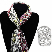 New Arrival Vintage Brooch Silver Color Scarf Buckle Clip Hollow Rose Flower Brooches For Women Gift Free Shipping