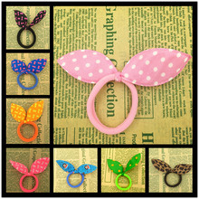 2015 New 10pcs 45mm Super Cute Rabbit Ears Hair Holders Hair Accessories Child Girl Women Print Point Rubber Bands(Random Color)