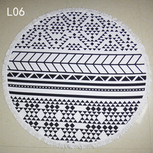 Wholesale new products comfortable high-grade Bath Towel Black and white geometric Round Beach Towel creative soft Beach Towel
