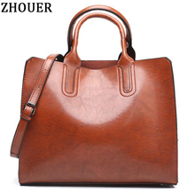 Luxury Brands Bags Womens PU Leather Handbags Large Capacity Lady Retro Vintage Hand Top-Handle Shoulder Bag Solid Tote Sac JZ01(China)