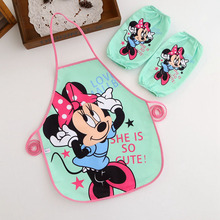 Cute Minnie Mickey Mouse Polyester Waterproof Apron with Sleeves Child Cooking Apron Avental de Cozinha Divertido Pinafore Apron