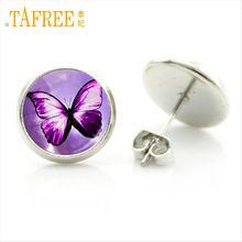 TAFREE New Arrival Butterfly Earrings Glass Cabochon Beauty for Women wedding Engagement Stud Earrings Special Store