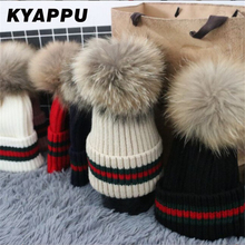 KYAPPU Factory Customized Womens Beanies Caps Winter Hats for woman 100% Raccoon Fur Pompom Hat Female Twist Pattern Caps(China)